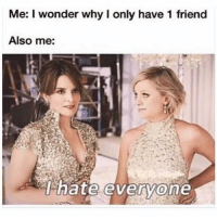 Funny, Memes, and Wonder: Me: I wonder why I only have 1 friend  Also me:  T. nate everyone my only friend is @sarcastic