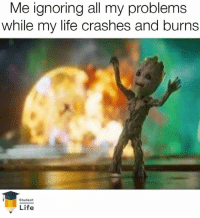 """@studentlifeofficial has been Crowned """"The Best Student Memes Page"""" 🔥🤣: Me ignoring all my problems  while my life crashes and burns  Student  Life @studentlifeofficial has been Crowned """"The Best Student Memes Page"""" 🔥🤣"""