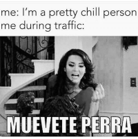 Me during traffic! 😂: me: I'm a pretty chill person  me durina traffic  MUEVETE PERRA Me during traffic! 😂