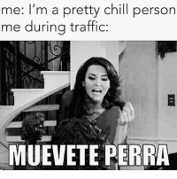 Me AF 🔥😆: me: I'm a pretty chill person  me during traffic:  MUEVETE PERRA Me AF 🔥😆