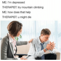 Climbing, Help, and How: ME: I'm depressed  THERAPIST: try mountain climbing  ME: how does that help  THERAPIST: u might die