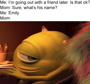 Every time: Me: I'm going out with a friend later. Is that ok?  Mom: Sure, what's his name?  Me: Emily  Mom: Every time