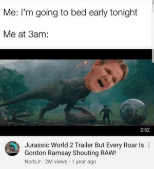 Dank, Gordon Ramsay, and Jurassic World: Me: I'm going to bed early tonight  Me at 3am:  2:52  Jurassic World 2 Trailer But Every Roar Is  Gordon Ramsay Shouting RAW!  NorbJr 2M views 1 year ago Meirl by Eyayito MORE MEMES