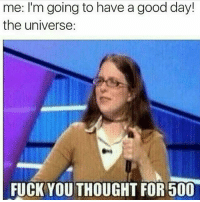 Fuck You, Memes, and Fuck: me: I'm going to have a good day!  the universe:  FUCK YOU THOUGHT FOR 500 😩😩😩😩