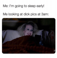 Dick Pics, Dick, and Girl Memes: Me: I'm going to sleep early!  Me looking at dick pics at 3am: Every damn night