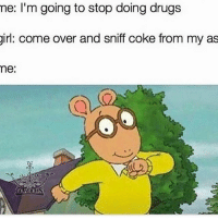 Come Over, Drugs, and Memes: me: I'm going to stop doing drugs  girl: come over and sniff coke from my as  me. Me except I'm not me I'm girl