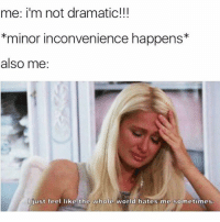 Funny, Hustler, and Inconvenience: me: i'm not dramatic!!!  *minor inconvenience happens*  also me:  just feel like the whole world hates me sometimes It's hard out here for hustler @hoegivesnofucks 😂😂