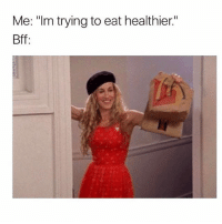 """Memes, 🤖, and Health: Me: """"Im trying to eat healthier.""""  Bff: Fries are potatoes 🍟vegetables = health goodgirlwithbadthoughts 💅🏽"""