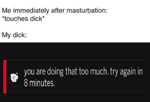 Life, Memes, and Too Much: Me immediately after masturbation:  *touches dick*  My dick:  i you are doing that too much.try again in  8 minutes. Don't tell me how to live my life. via /r/memes http://bit.ly/2ZmPbvW
