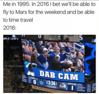 memes: Me in 1995: In 2016 I bet we'll be able to  fly to Mars for the weekend and be able  to time travel  2016  APLE LEAFs  IG @tank sinatra  13:36  CITIZEN  LANDESKOG  MITCHELL  MACKINNON 0838