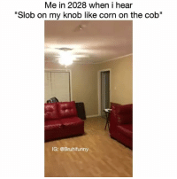 "Memes, Slob on My Knob, and 🤖: Me in 2028 when i hear  ""Slob on my knob like corn on the cob""  IG: @Bruhifunny Swear this gone be me 😂😂💯💯 - Follow me (@bruhifunny) for more! ☎️"