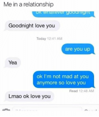 Memes, Gorgeous, and In a Relationship: Me in a relationship  Goodnight love you  Today 12:41 AM  are you up  Yea  ok I'm not mad at you  anymore so love you  Read 12:48 AM  Lmao ok love you @myholeisyourgoal 😂 follow my gorgeous @myholeisyourgoal 💋 . relationships