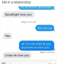 Ironic, In a Relationship, and Madness: Me in a relationship  Goodnight love you  Today 12:41 AM  are you up  Yea  ok I'm not mad at you  anymore so love you  Read 12:48 AM  Lmao ok love you