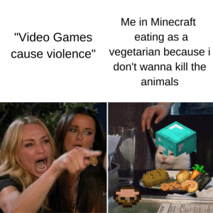 "First post have mercy: Me in Minecraft  ""Video Games  eating as a  vegetarian because i  ause violence""  don't wanna kill the  animals First post have mercy"