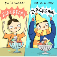 I scream for icecream. 🍦 (by @drawnbyjuliet): Me in Summer  Me in winter  ECREAM  drawnby Juket  for Buzzfeed I scream for icecream. 🍦 (by @drawnbyjuliet)