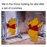 Memes, Mirror, and 🤖: Me in the mirror looking for abs after  a set of crunches  IG: @thegainz *pulls the skins down* thereeee they are