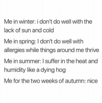 Winter, Summer, and Heat: Me in winter: i don't do well with the  lack of sun and cold  Me in spring: I don't do well with  allergies while things around me thrive  Me in summer: I suffer in the heat and  humidity like a dying hog  Me for the two weeks of autumn: nice Nice