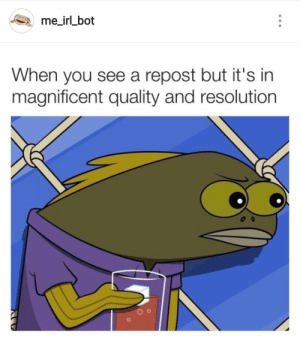 Dank, Memes, and Target: me_irl bot  When you see a repost but it's in  magnificent quality and resolution me irl by hamza_psd MORE MEMES