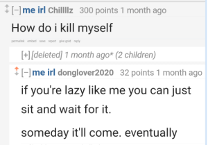 meirl by ThatCalisthenicsDude FOLLOW 4 MORE MEMES.: me irl Chillllz 300 points 1 month ago  How do i kill myself  permalink embed save report give gold reply  +[deleted] 1 month ago* (2 children)  me irl donglover2020 32 points 1 month ago  if you're lazy like me you can just  sit and wait for it.  someday it'll come. eventually meirl by ThatCalisthenicsDude FOLLOW 4 MORE MEMES.