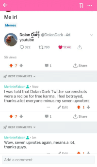 Dolan Dark: Me irl  Memes  Dolan Dark @DolanDark . 4d  youtube  780  ', 17.4K  322  山  56 viewss  7  1, Share  BEST COMMENTS  MerlininFalcon. Now  l was told that Dolan Dark Twitter screenshots  were a recipe for free karma, I feel betrayed,  thanks a lot everyone minus my seven upvoters  /Edit  ↑1  7  T,Share  BEST COMMENTS  MerlininFalcon1m  Wow, seven upvotes again, means a lot,  thanks guys.  Add a comment