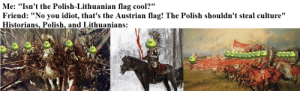 "Beautiful, Cool, and History: Me: ""Isn't the Polish-Lithuanian flag cool?""  Friend: ""No you idiot, that's the Austrian flag! The Polish shouldn't steal culture""  Historians, Polish, and Lithuanians: Everyone should show more interest in this dead but beautiful country"