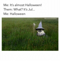 Halloween, Time, and Girl Memes: Me: It's almost Halloween!  Them: What? It's Jul...  Me: Halloween  @martinisandmayhem Time to bust out the decorations! 🧙🏼♀️🎃
