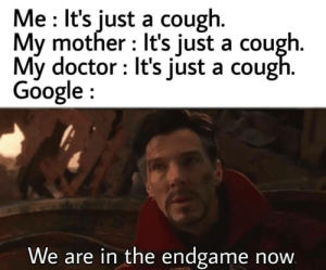 A heart attack in kidney is most likely: Me It's just a cough.  My mother It's just a cough.  My doctor It's just a cough.  Google  We are in the endgame  now A heart attack in kidney is most likely