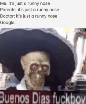 Doctor, Google, and Parents: Me: it's just a runny nose  Parents: it's just a runny nose  Doctor: it's just a runny nose  Google:  Buenos Dias fuckboV *mad world intensifies*