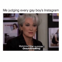 Instagram, Summer, and Grindr: Me judging every gay boy's Instagram  @sluttypuffin  Mykonos? For summer?  Groundbreaking Play nicely boys. No more slap fights. (@sluttypuffin)