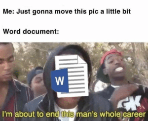 Word, Dank Memes, and Move: Me: Just gonna move this pic a little bit  Word document:  I'm about to end this man's whole career