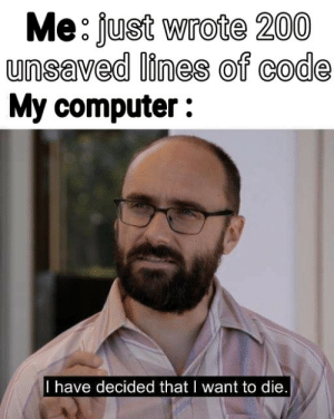 It's rewind time: Me: just wrote 200  unsaved lines of code  My computer :  I have decided that I want to die. It's rewind time