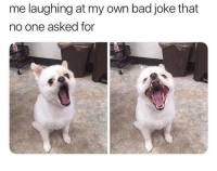 Bad, Irl, and Me IRL: me laughing at my own bad joke that  no one asked for me_irl