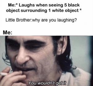 Wait till puberty: Me:* Laughs when seeing 5 black  object surrounding 1 white object  Little Brother why are you laughing?  Me:  You wouldn't get it Wait till puberty