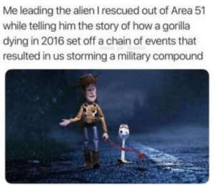 Meme, Saw, and Alien: Me leading the alien I rescued out of Area 51  while telling him the story of how a goilla  dying in 2016 set off a chain of events that  resulted in us storming a military compound (Not mine, source unknown) meme I saw on Discord