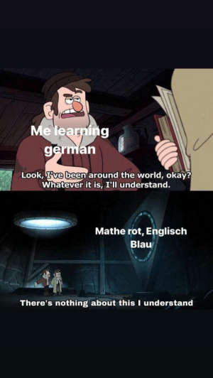 Okay, World, and German (Language): Me learning  german  Look, Ive been around the world, okay?  Whatever it is, I'll understand.  Mathe rot, Englisch  Blau  There's nothing about this I understand Ich_iel