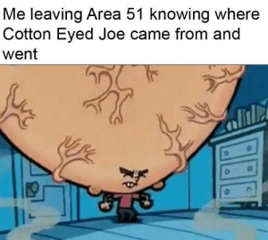 Yeah, Brain, and Time: Me leaving Area 51 knowing where  Cotton Eyed Joe came from and  went Yeah, big brain time