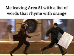The Government wins if this meme dies.: Me leaving Area 51 with a list of  words that rhyme with orange The Government wins if this meme dies.