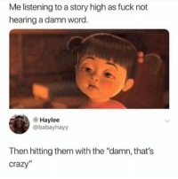 """Crazy, Memes, and Fuck: Me listening to a story high as fuck not  hearing a damn word  Haylee  @babayhayy  Then hitting them with the """"damn, that's  crazy"""""""