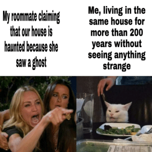 catherine-siena-dr-of-the-church: srsfunny: I've been here longer than you and I've never seen a ghost here I had to read that 4 times before my brain actually got it. : Me, living in the  same house for  more than 200  My roomate claining  that our house is  haunted because she  years without  seeing anything  strange  saw a ghost catherine-siena-dr-of-the-church: srsfunny: I've been here longer than you and I've never seen a ghost here I had to read that 4 times before my brain actually got it.