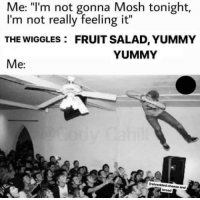 "msgtporkins:  I'm more of a Sharon, Lois and Bram lover.: Me: ""l'm not gonna Mosh tonight,  I'm not really feeling it""  THE WIGGLES: FRUIT SALAD, YUMMY  Me:  YUMMY  cheese and  bread msgtporkins:  I'm more of a Sharon, Lois and Bram lover."