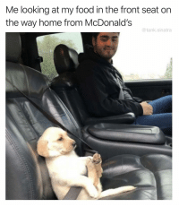 Food, Funny, and McDonalds: Me looking at my food in the front seat on  the way home from McDonald's  @tank.sinatra Ooooohhhhh I'm gonna do things to you