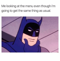 Chicken nuggets, pepperoni pizza & a couple iced cold ones please | Check out @superlazyrobot for more!: Me looking at the menu even though im  going to get the same thing as usual Chicken nuggets, pepperoni pizza & a couple iced cold ones please | Check out @superlazyrobot for more!