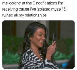 Dank, Memes, and Relationships: me looking at the O notifications l'm  receiving cause I've isolated myself &  ruined all my relationships meirl by BigDaddyShmitlerr MORE MEMES