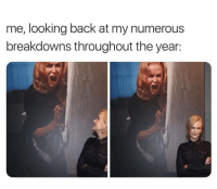 Back, Looking, and  Looking Back: me, looking back at my numerous  breakdowns throughout the year: