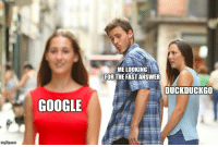 Google, Answer, and Duckduckgo: ME LOOKING  FOR THE FAST ANSWER  DUCKDUCKGO  GOOGLE Me searching for the answer