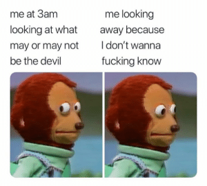 Dank, Fucking, and Devil: me looking  me at 3am  looking at what  away because  I don't wanna  may or may not  be the devil  fucking know I didn't see anything