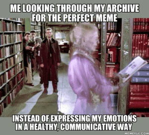 Dank, Meme, and 🤖: ME LOOKING THROUGH MY ARCHIVE  FOR THE PERFECT MEME  INSTEAD OF EXPRESSING MY EMOTIONS  INA HEALTHY,COMMUNICATIVE WAY  MEMEFUL.COM Like a needle in a haystack.