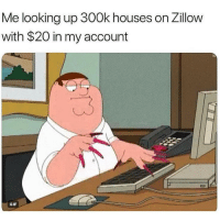 Funny, Gif, and Looking: Me looking up 300k houses on Zillow  with $20 in my account  GIF 2,000 sq ft minimum 💅🏽