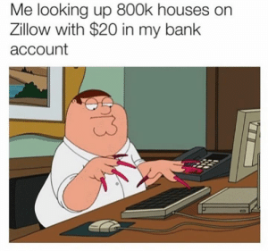 You never know man: Me looking up 800k houses on  Zillow with $20 in my bank  account You never know man