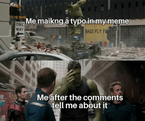 Meme, Reddit, and Mind: Me maikng a typo-in my meme  ONE  WAY  BAGS FLY FR  Meafter the comments  tell me about it Don't mind that